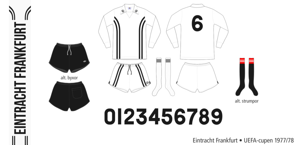 Eintracht Frankfurt 1977/78 (vit Admiral, UEFA-cupen)